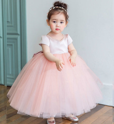 Girly Shop's Peachy Pink Cute Sweetheart Neckline Cap Sleeve Ankle Length Big Bow Back Infant Toddler Little & Big Girl Tutu Dress