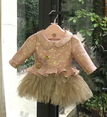 Girly Shop's Gold & Pink Flower girl dresses, Bridesmaid dresses, Baby girl birthday dresses, Christmas dress, Communion dress, Baby shoes, Baby headband.