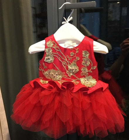 Girly Shop's Red Flower girl dresses, Bridesmaid dresses, Baby girl birthday dresses, Christmas dress, Communion dress, Baby shoes, Baby headband.