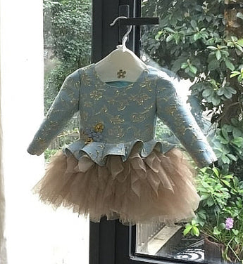 Girly Shop's Turquoise & Gold Handmade Floral Embroidered Gold Thread Round Neckline Long Sleeve & Sleeveless Tiered Layered Baby Infant Flower Party Dress