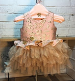 Girly Shops's Pink & Gold Handmade Floral Embroidered Gold Thread Round Neckline Long Sleeve & Sleeveless Tiered Layered Baby Infant Flower Party Dress