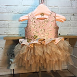 Girly Shop's Pink Handmade Embroidered Flower Applique Round Neckline Long Sleeve & Sleeveless Tiered Layered Baby Infant Party Dress