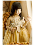 Girly Shop's Gold Elegant Gold Thread Floral Embroidery & Ostrich Feathers Applique Sheer Round Neckline Sleeveless Knee Length Baby Infant Toddler Little Girl Party Dress