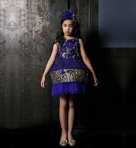 Girly Shop's Royal Blue Unique Design Paillettes Floral Applique Round Neckline Sleeveless Knee Length Infant Toddler Little & Big Girl Crinoline Shaped Gown