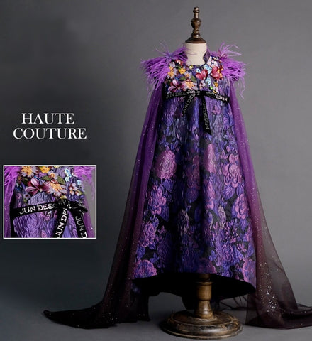 Girly Shop's Purple Embroidery Floral Applique Shanghai Mandarin Collar Floor Length Feathers Sleeves Infant Toddler Little & Big Girl High Low Floral Flare Dress