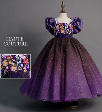 Girly Shop's Purple Embroidery Floral Applique Square Neckline Bubble Short Sleeve Infant Toddler Little & Big Girl Layered Lace Up Floral Dress