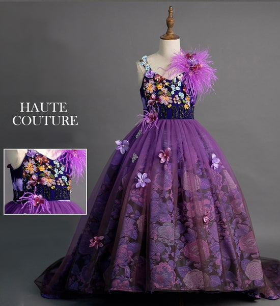 Girly Shop's Purple Embroidery Floral Applique Sweetheart Neckline Spaghetti Strap Infant Toddler Little & Big Girl Layered Shoulder Corsage Long Train Dress