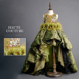 Girly Shop's Romantic Green Elegant Design Embroidery Floral Sequin & Feathers Applique Sheer Round Neckline Sleeveless Tiered Layered Infant Toddler Little & Big Girl Ruffles High Low Train Ball Gown