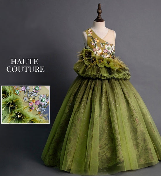 Girly Shop's Green Elegant Design Embroidery Floral Sequin & Feathers Applique Sheer Sweetheart Neckline Sleeveless Tiered Layered Infant Toddler Little & Big Girl Ruffles Flowers Ball Gown