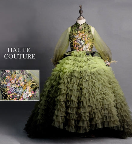 Girly Shop's Green Gradient Elegant Design Embroidery Floral & Feathers Applique Stand-Up Collar Sheer Long Sleeves Infant Toddler Little & Big Girl Tiered Train Ball Gown