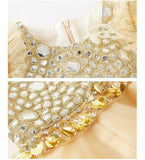 Girly Shop's Gold Modern Crystal Beaded Applique Round Neckline Tassel Sleeveless Tiered Infant Toddler Little & Big Girl Party Gown