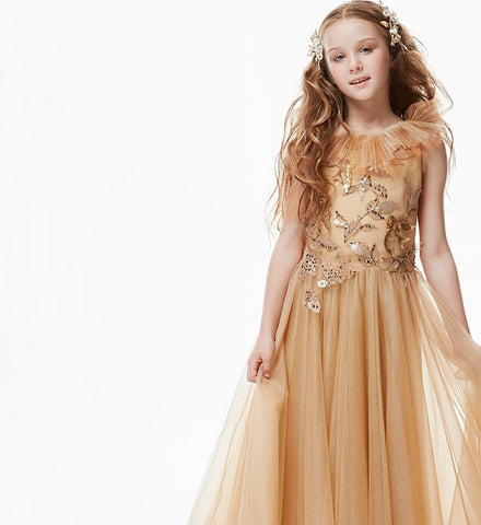 Girly Shop's Gold Beautiful Embroidered Floral Sequin Applique Ruffle Round Neckline Sleeveless Infant Toddler Little & Big Girl Party Gown