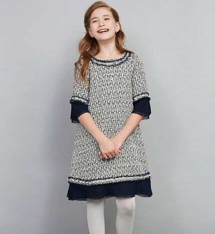 Girly Shop's Dark Blue Black Pearl Applique Round Neckline Half Sleeve Knee Length Infant Toddler Little & Big Girl Woven Dress