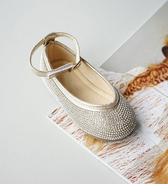 Girly Shop's Gold Little & Big Girl Beautiful Rhinestone Applique Ankle Strap Flat Round Party Shoes