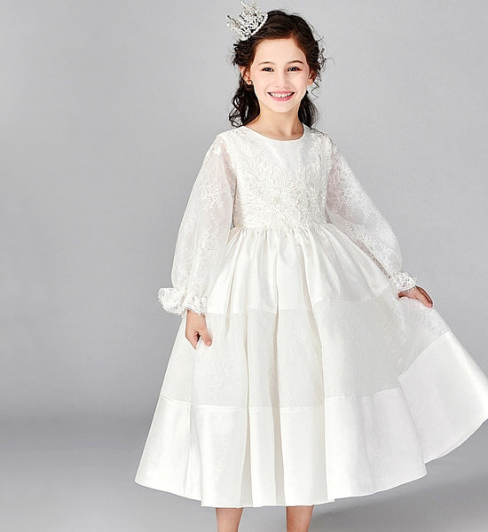 Girly Shop's White Flower Embroidery Applique Round Neckline Long Bell Sleeve Tea Length Infant Toddler Little & Big Girl Flower Ruffle Dress