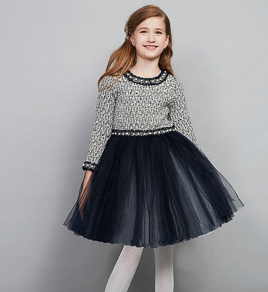 Girly Shop's Dark Blue Black Pearl Applique Round Neckline Long Sleeve Knee Length Infant Toddler Little & Big Girl Woven Dress