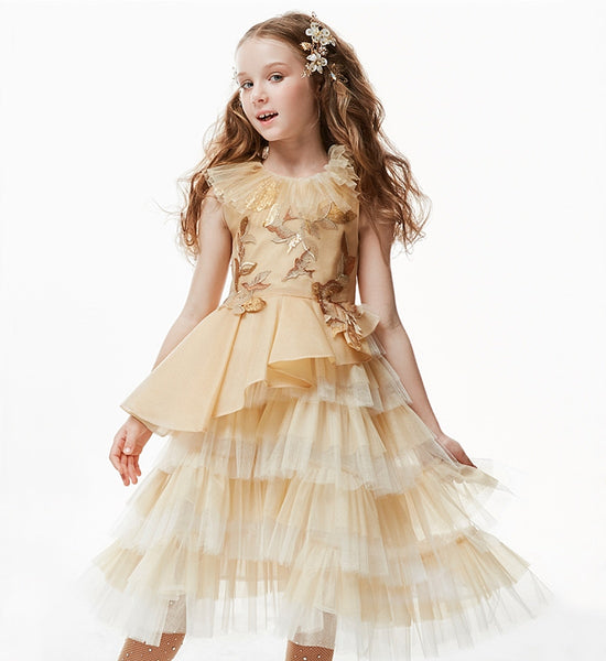 Girly Shop's Gold Modern Gold Paillette Embroidered Applique Ruffle Round Neckline Sleeveless Tea - Knee Length Infant Toddler Little & Big Girl Tiered Party Dress
