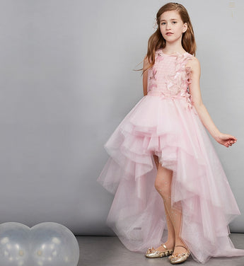 Girly Shop's Pink Embroidered Applique Round Neckline Sleeveless Knee Length Tiered Layered Infant Toddler Little & Big Girl High Low Train Gown