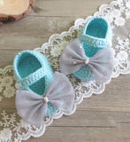 Girly Shop's Aqua Blue & Gray Big Bow Baby Booties