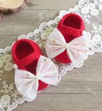 Girly Shop's Red & White Big Bow Baby Booties