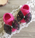 Girly Shop's Fuchsia & Black Big Bow Baby Booties