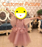 Girly Shop's Light Pink Embroidery Flower Applique Round Neckline Pageant Prom Princess Junior Bridesmaid Ribbon Trimmed Bell Sleeve Dress