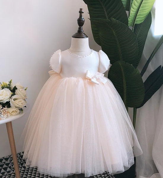 Girly Shop's Light Champagne Beautiful Pearl Applique Sweetheart Neckline Short Sleeve Knee Length Large Bow Back Baby Infant Toddler Little Girl Party Bow Dress