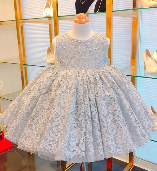 Girly Shop's Gray Beautiful Pearl & Beaded Applique Round Neckline Sleeveless Bow Back Knee Length Baby Infant Toddler Little Girl Floral Lace Dress