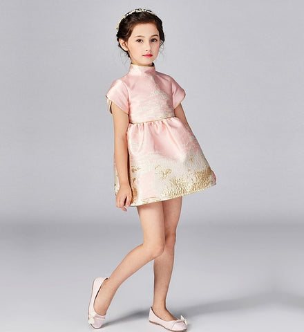 Girly Shop's Pink Gold Thread Applique Stand-Up Collar Short Sleeve Knee Length Infant Toddler Little Girl Party Dress