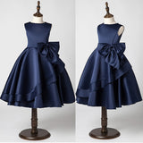 Girly Shop's Dark Blue Simple Round Neckline Sleeveless Tea Length Tiered Layered Bow Front Infant Toddler Little & Big Girl Party Dress
