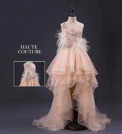 Girly Shop's Light Peach Elegant Ostrich Feathers & Floral Sequin Applique Round Neckline Sleeveless Tiered Multi Layered Infant Toddler Little & Big Girl High Low Train Flower Dress
