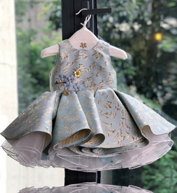 Girly Shop's Turquoise Pink Cute & Beautiful Floral Embroidered Applique Pearl Round Neckline Sleeveless Tiered Layered Baby Infant Toddler Flower Party Dress
