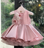 Girly Shop's Flamingo Pink Cute & Beautiful Floral Embroidered Applique Pearl Round Neckline Sleeveless Tiered Layered Baby Infant Toddler Flower Party Dress