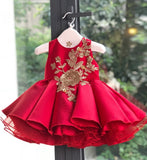Girly Shop's Red Pink Cute & Beautiful Floral Embroidered Applique Pearl Round Neckline Sleeveless Tiered Layered Baby Infant Toddler Flower Party Dress