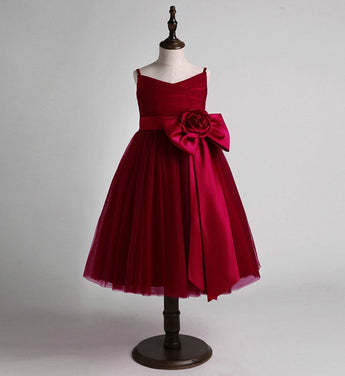 Girly Shop's Burgundy Beautiful Sweetheart Neckline Sleeveless Spaghetti Strap Tea Length Tiered Layered Large Bow Front Infant Toddler Little & Big Girl Party Dress