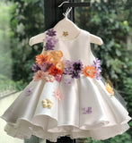 Girly Shop's White Cute & Beautiful Floral Embroidered Applique Pearl Round Neckline Sleeveless Tiered Layered Baby Infant Toddler Flower Party Dress