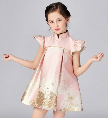 Girly Shop's Pink Gold Thread Applique Mandarin Collar Ruffle Short Sleeve Knee Length Infant Toddler Little Girl Party Dress