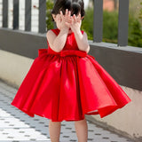 Girly Shop's Red Beautiful Beaded Applique Round Neckline Sleeveless Knee Length Big Bow Back Baby Infant Toddler Little & Big Girl Party Dress