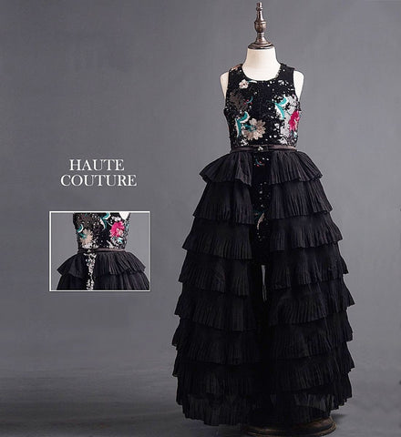 Girly Shop's Black Sequin Applique Short Bodice Dress Round Neckline Sleeveless Tiered Infant Toddler Little & Big Girl With Long Tiered Overskirt