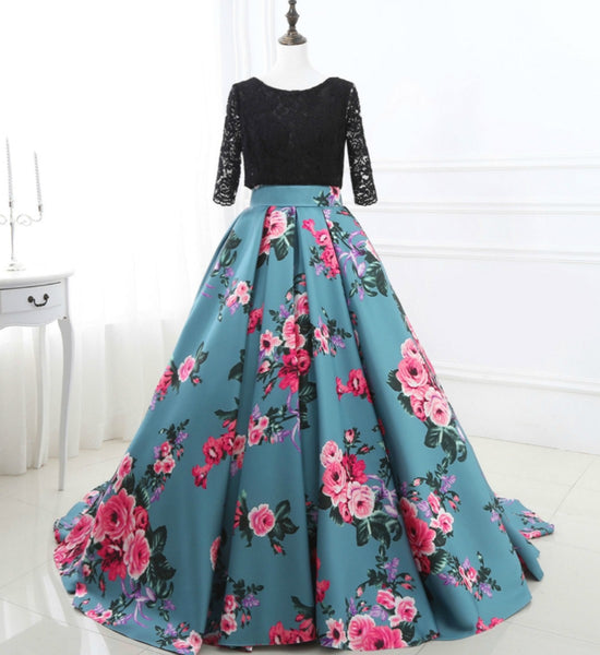 Girly Shop's Black & Blue Sapphire Elegant Round Neckline Half Sleeve V Open Back Lace Up Little & Big Girl Lace Dress Decorated With Rose Pink Flowers