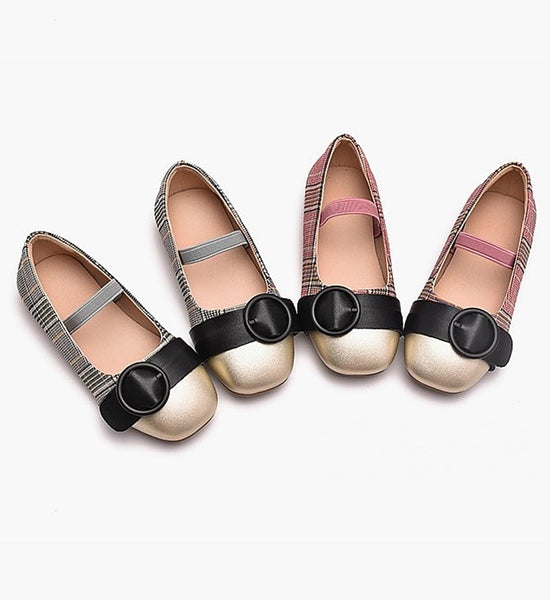 Girly Shop's Gold Black Gray & Pink Buckle Applique Infant Toddler Little & Big Girl Strap Flat Wedding Birthday Party Shoes