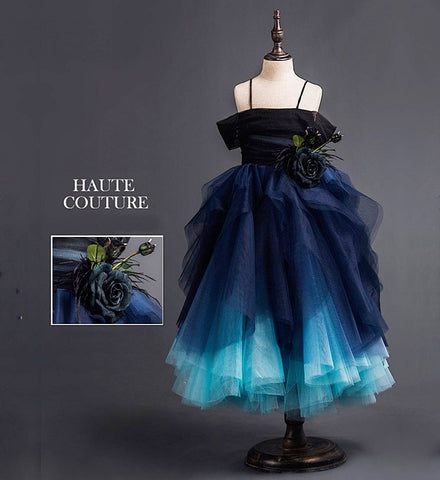 Girly Shop's Blue Gradient Elegant Flower & Feathers Applique Spaghetti Straps Off The Shoulder Short Sleeve Tiered Layered Infant Toddler Little & Big Girl Lace Up Party Gown
