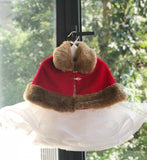 Girly Shop's Red Cute & Soft Newborn Baby Infant Toddler Winter Autumn Faux Fur Wrap/Cape/Cloak