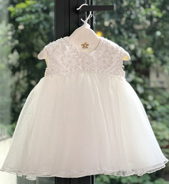Girly Shop's White Cute & Beautiful Gold Thread Floral Embroidered Applique Round Neckline Sleeveless Layered Baby Infant Toddler Flower Party Dress