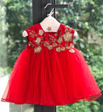 Girly Shop's Red Cute & Beautiful Gold Thread Floral Embroidered Applique Round Neckline Sleeveless Layered Baby Infant Toddler Flower Party Dress