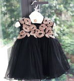 Girly Shop's Gold & Black Cute & Beautiful Gold Thread Floral Embroidered Applique Round Neckline Sleeveless Layered Baby Infant Toddler Flower Party Dress