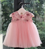 Girly Shop's Pink Cute & Beautiful Gold Thread Floral Embroidered Applique Round Neckline Sleeveless Layered Baby Infant Toddler Flower Party Dress