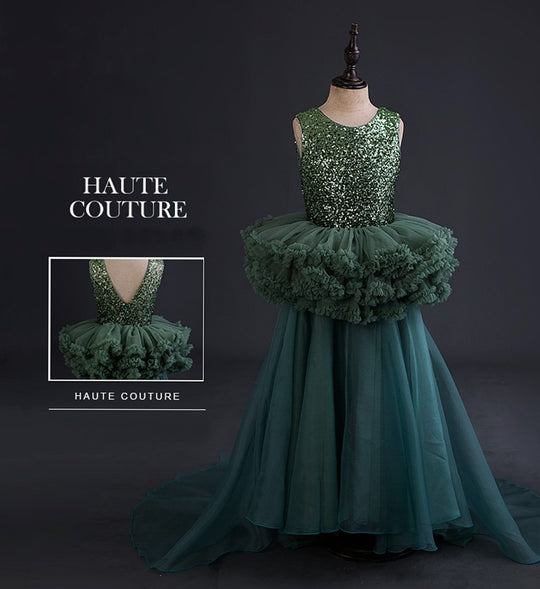 Girly Shop's Green Unique Design Round Neckline Sleeveless Tiered Layered Infant Toddler Little & Big Girl Sparkle Sequin Train Gown