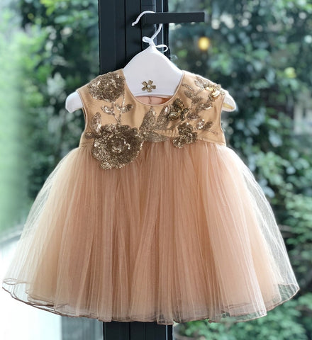 Girly Shop's Gold & Brown Cute & Beautiful Gold Thread Floral Embroidered Applique Round Neckline Sleeveless Layered Baby Infant Toddler Flower Party Dress
