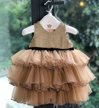 Girly Shop's Gold Brown Cute & Beautiful Floral Applique Round Neckline Sleeveless Tiered Layered Baby Infant Toddler Flower Party Dress